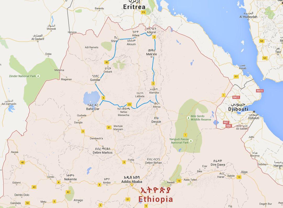 Carte de notre voyage